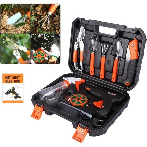 Garden Tool Set gardening tools Gardening kit with Carrying Case, Garden Secateurs Ergonomic Handle Anti-slip and Rustproof Gift for garden lovers (black)