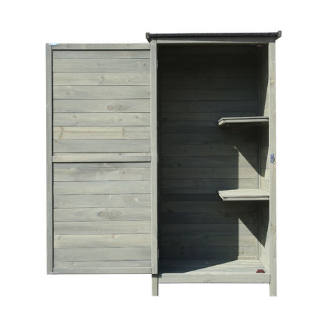 Garden Tool Shed/ Cabinet made of Wood, 69.5x52x142cm with Wing Door and Bitumen Coated Flat Roof