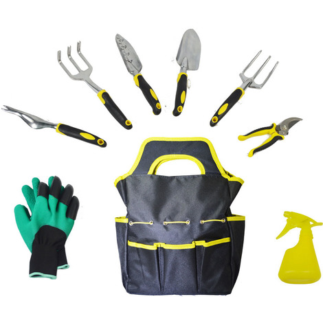 Garden Tools Set - 9 pièces Outils de Jardinage Robustes avec Pelle, cultivateur,truelle de Jardin,greffe,désherbage à la Main, cisaille à élaguer