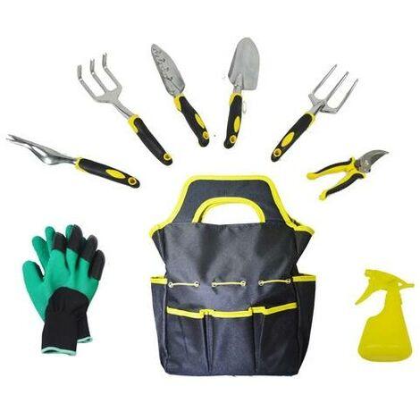 Garden Tools Set Outils de Jardinage Robustes avec Pelle, cultivateur, truelle de Jardin,greffe,désherbage à la Main, cisaille à élaguer (9 pièces)