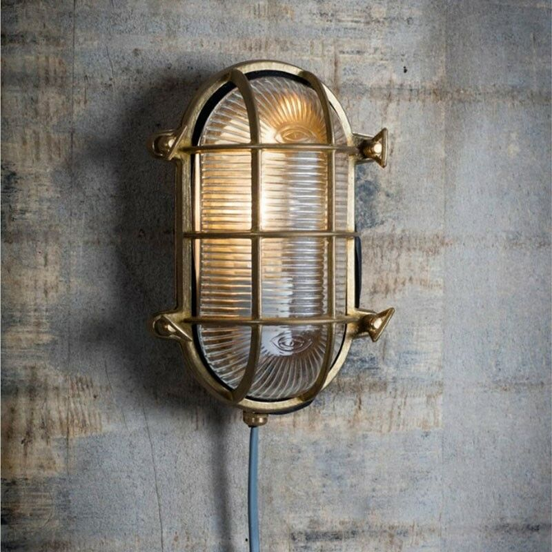 Image of Brass Devonport Bulk Head Cage Nautical Mains Garden Wall Light - Garden Trading