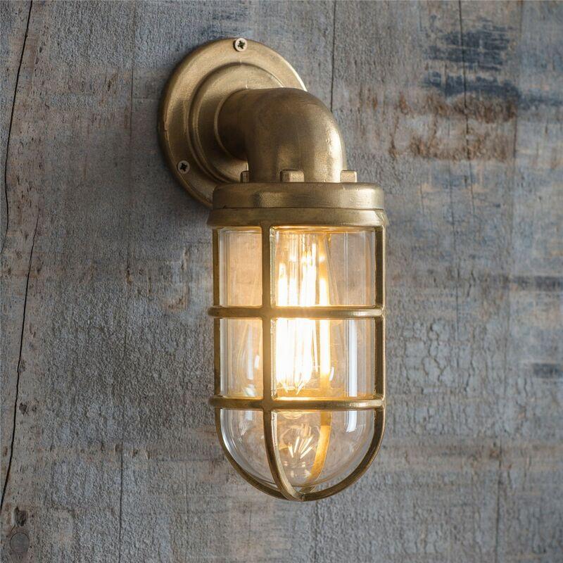 Image of Brass Devonport Cage Down Light Nautical Mains Garden Wall Light - Garden Trading