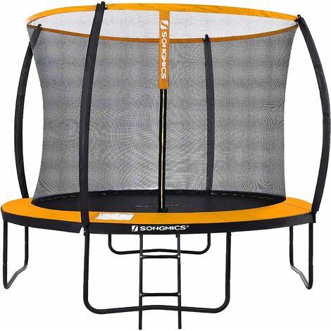 "main image of ""Garden Trampoline, 10 ft Round Trampoline with Safety Net Enclosure, Ladder, Padded Arch Poles, TÜV Rheinland Safety Test, Black and Orange STR102O01 - Black and Orange"""