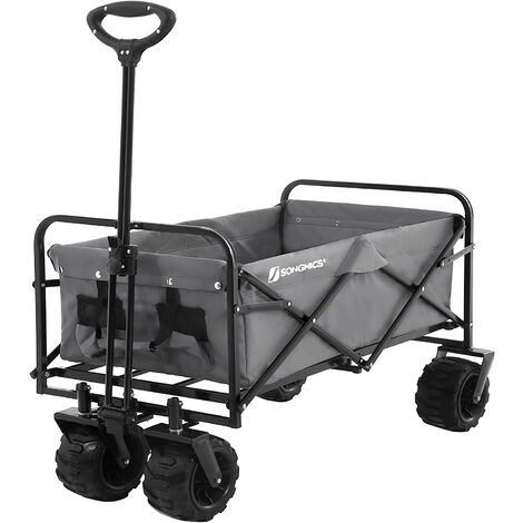 Garden Trolley, 86L Hand Trailer with Handle, 4 Reinforced Wheels 10 cm Thick, 2 of Which Swivel 360°, 100 kg Capacity, Foldable, for Outdoor, Garden, Excursions, Black/Grey