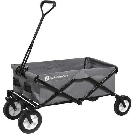 Garden Trolley, 97L Hand Trailer with Handle, 4 Reinforced Wheels with 2 360° Swivel, Capacity 80 kg, Foldable For Outdoor, Garden, Excursions, Black/Grey