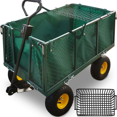 Garden Trolley Cart Heavy Duty Folding Utility Steel Hand Truck 550kg Capacity 200 L Wheelbarrow ATV Bike Trailer