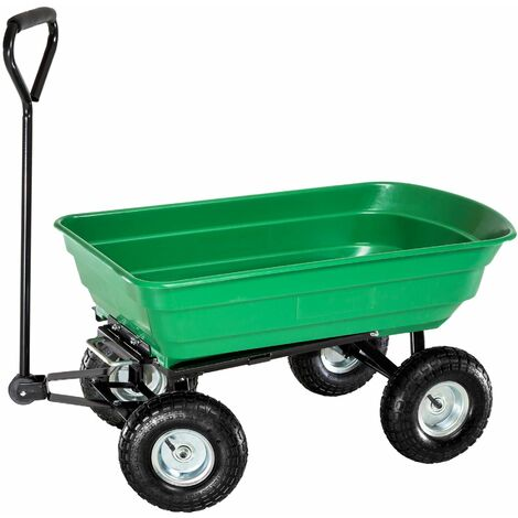 Garden trolley tiltable with plastic tray max. 300 kg - garden cart, beach trolley, trolley cart - green