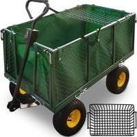Garden Trolley Transport Cart Deuba Tarpaulin & Mesh Tray Heavy Duty Dump Truck Wheelbarrow