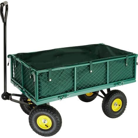 Garden trolley with inner lining max. 350 kg - garden cart, beach trolley, trolley cart - green