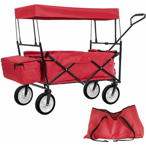 Garden trolley with roof foldable incl. carry bag - garden cart, beach trolley, trolley cart