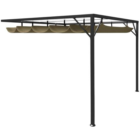 Garden Wall Gazebo with Retractable Roof 3x3 m Taupe 180 g/m²