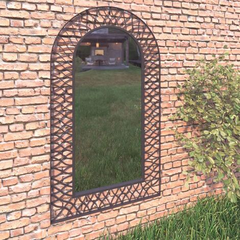 Garden Wall Mirror Arched 60x110 cm Black