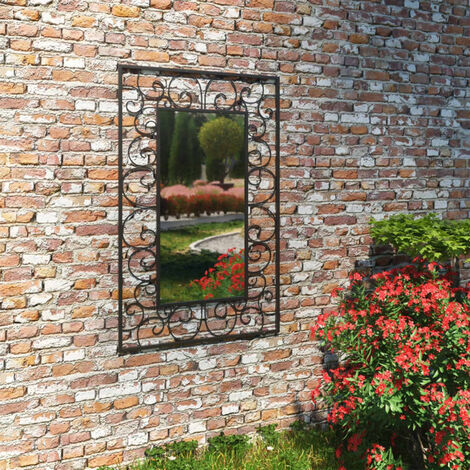 Garden Wall Mirror Rectangular 50x80 cm Black