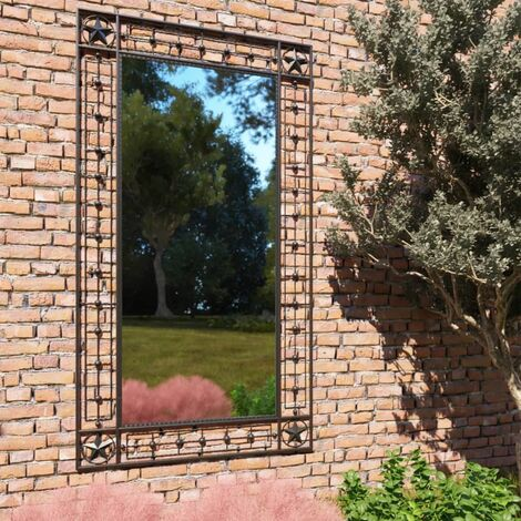 Garden Wall Mirror Rectangular 60x110 cm Black