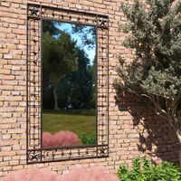Garden Wall Mirror Rectangular 60x110 cm Black