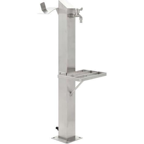 Garden Water Column Stainless Steel Square 95 cm
