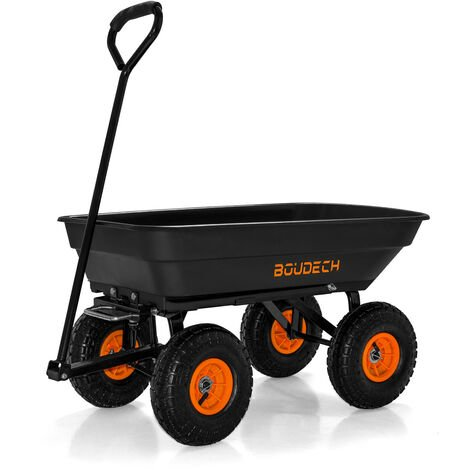 Garden Wheelbarrow 250kg Tipping Cart trolley with 4 heavy duty wheels and steering handle for effortless manoeuvrability