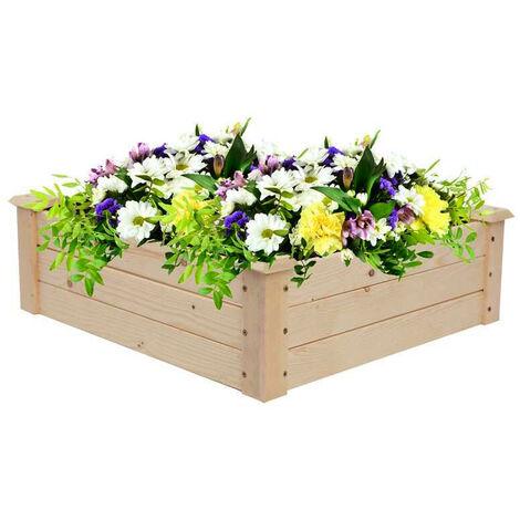Garden Wooden Flower Planter Box Flower Basket, 122x122x24CM