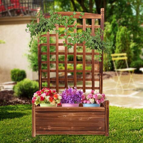 Garden Wooden Planter Box With Trellis Flower Pot Support Frame Lattice Outdoor,Large