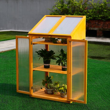 Garden Wooden Polycarbonate Plant Flower Growhouse