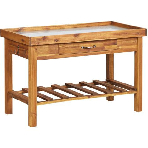 Garden Work Bench with Zinc Top Solid Acacia Wood - Brown