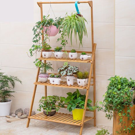 Garden Yard Bamboo Plant Stand Folding 3 Tier Hanging Multi Flower Display Shelf,100cm