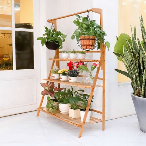 Garden Yard Bamboo Plant Stand Folding 3 Tier Hanging Multi Flower Display Shelf,70cm