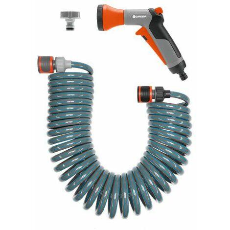 GARDENA 04647-20 Spiralschlauch-Set 10 m, komplett mit Impulsbrause und Systemteilen