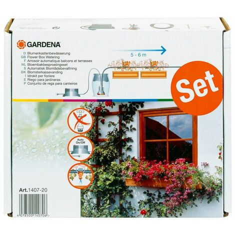 Gardena 1407-20 Set para el riego de cajas de flores totalmente automático