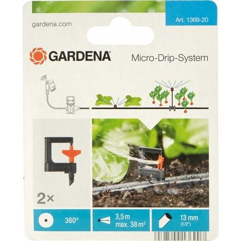Gardena Asperseur rotatif Micro-Drip-System Noir/Orange 35 x 20 x 19 cm - 360 Degré - 2 pièces