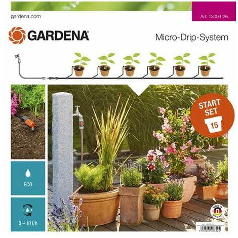 GARDENA Kit d'arrosage goutte-à-goutte pour plantes en pots (13003-26).
