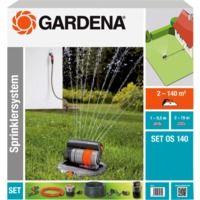 GARDENA Komplett-Set mit Versenk-Viereckregner OS 140, Sprinklersystem, schwarz/anthrazit