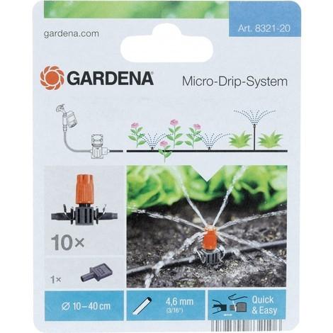 Gardena Lot de 10 asperseurs pour Petite surface Micro-Drip-System Gris/Orange 35 x 20 x 19 cm 08321-20