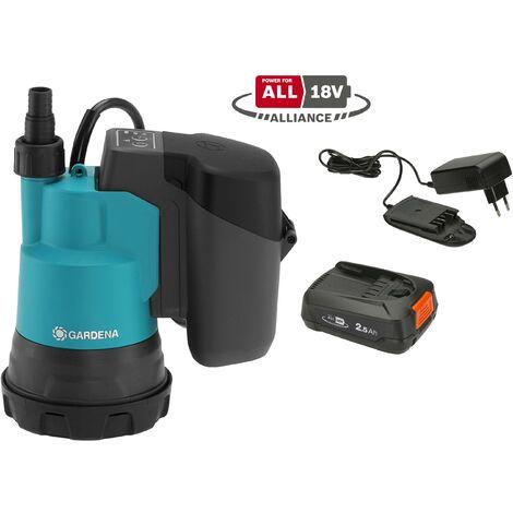 GARDENA Pompe immergée pour eaux claires 200/2 18V P4A avec batterie (14600-20).