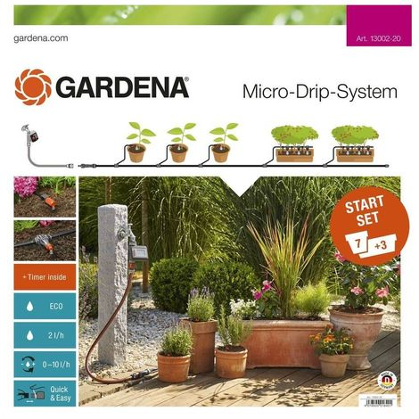 Gardena 13002-20 Set de inicio para Macetas M automatico Para 10 macetas Programador riego Easy Control incluido