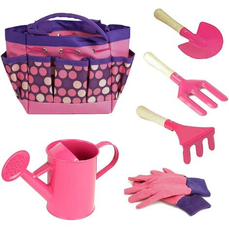 Gardening Kids Set of Tools with Gloves Tote Shovel Rake Bag Garden Accessories Outdoor and Learning Toys All In One Rose Kit