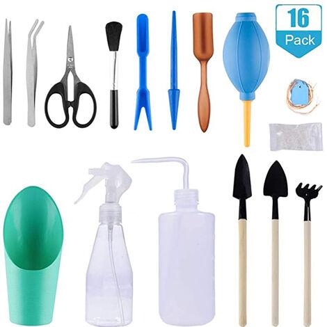 "main image of ""Gardening Tool Kits, 16pcs Succulent Transplant Tools Mini Bonsai Tools, Indoor Gardening Tool Kit with Pruner Scissors Mini Watering Can for Garden Home"""