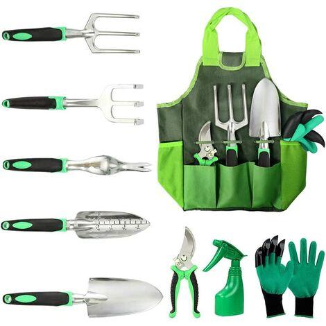 "main image of ""Gardening Tools, 10 Pack Gardening Kit, Garden Tool Set with Storage Bag Watering Can Outdoor Gardening Gloves Gardening Gifts for Women and Men"""