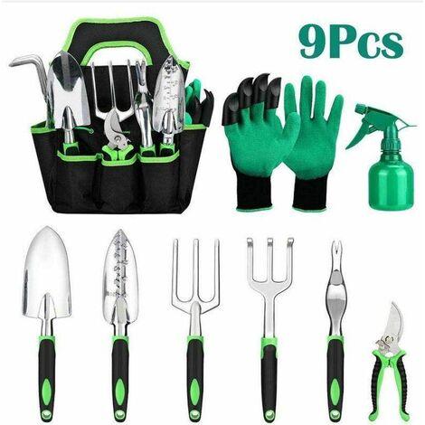 Gardening Tools 9pcs, Gardening Kit Stainless Steel Garden Tool Set with Waterproof Garden Bag, Ergonomic Rubber Handle Glove Garden, Shovel, Rake, Senate