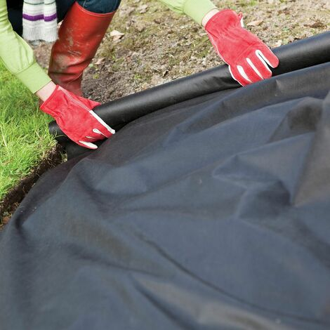 GardenKraft 10059 Heavy Duty Weed Control Fabric / 50m Coverage From 1 Individual 50m x 1m Barrier Roll / Multi-Purpose Garden Landscaping Ground Cover