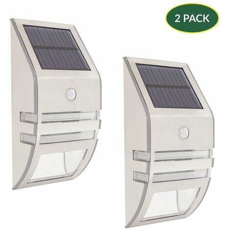 "main image of ""GardenKraft 11279 Solar Powered Security Lights / Pack of 2 / Motion Sensored 'Auto On' Light / 5V Solar Panel / Weatherproof Stainless-Steel Construction"""