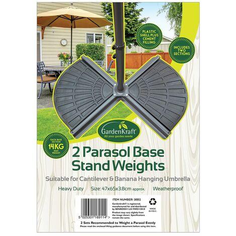 GardenKraft 16910 2 Pack Cement Filled 14kg Cantilever or Banana Parasol Base Weights, Black