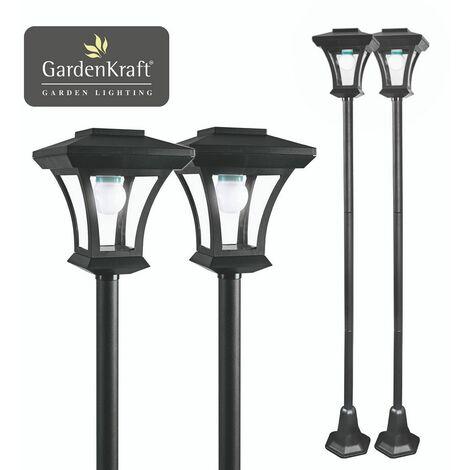 "main image of ""GardenKraft 19509 2PK LED Lamp Post / Adjustable Height 1.6m Max / Elegant Garden Ornament / Outdoor Solar Powered Light Feature / Traditional Victorian Style / IP44 Weatherproof"""