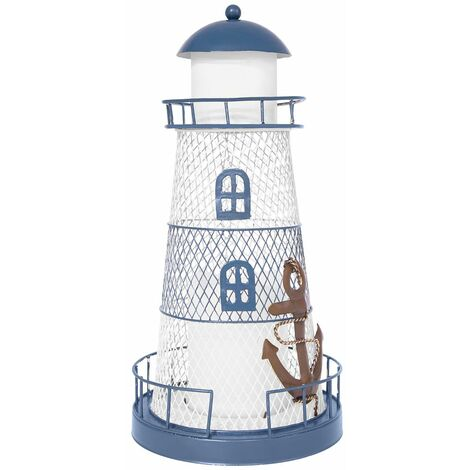 """main image of """"GardenKraft Metal Lighthouse with Solar Powered Candle Light / 33cm High / On-Off Switch / Unique Garden Decoration (Blue and White)"""""""