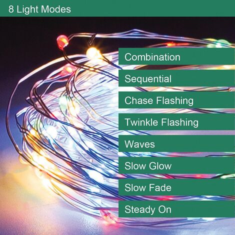 GardenKraft Micro LED Outdoor String Lights / 3 Colours and 3 Pack Sizes / Silver or Copper Cord / Solar Powered / Weatherproof IP44 (Multicoloured, 100)