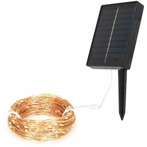GardenKraft Micro LED Outdoor String Lights / 3 Colours and 3 Pack Sizes / Silver or Copper Cord / Solar Powered / Weatherproof IP44 (Warm White, 200)