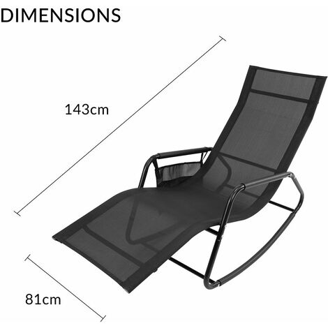 GardenKraft Outdoor Garden Rocking Chairs / 2 Styles Includes Pillow Or Side Bag/Steel Frame/Ultra-Durable Textilene Material/Black Or Grey Colours (Black, With Side Bag)