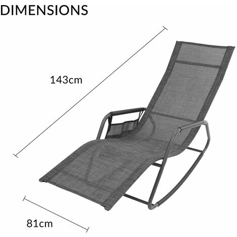 GardenKraft Outdoor Garden Rocking Chairs / 2 Styles Includes Pillow Or Side Bag/Steel Frame/Ultra-Durable Textilene Material/Black Or Grey Colours (Grey, With Side Bag)