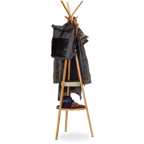 Garderobe mit Ablage, dreiarmiger Bambus Kleiderständer mit 6 Haken, Kleiderablage HxBxT: 171x50x50cm, natur