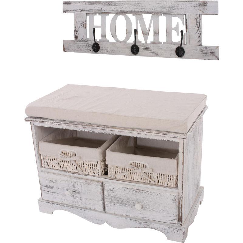 Garderobe mit Sitzbank Kommode mit 2 Körben 42x62x33cm, Shabby-Look, Shabby-Chic, Vintage ~ weiß